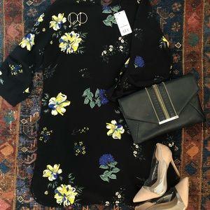 MANGO Black and Floral Print Dress